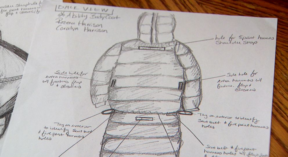 Seen here, a rendering of the Bodycoat--invented by mom Jennifer Harrison of Michigan.