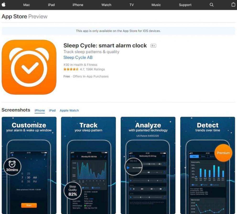 PHOTO: Sleep Cycle: smart alarm clock available from the Apple App store.