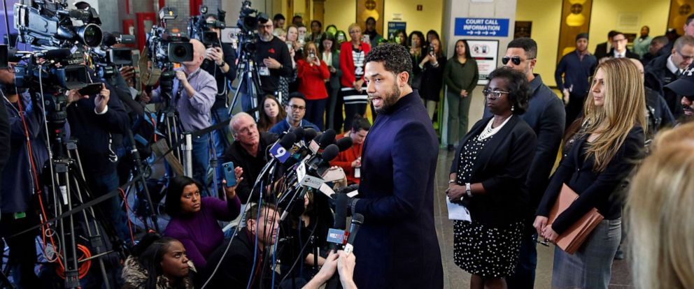 PHOTO: Actor Jussie Smollett speaks with members of the media after his court appearance at Leighton Courthouse on March 26, 2019 in Chicago, after all charges were dropped against the actor.