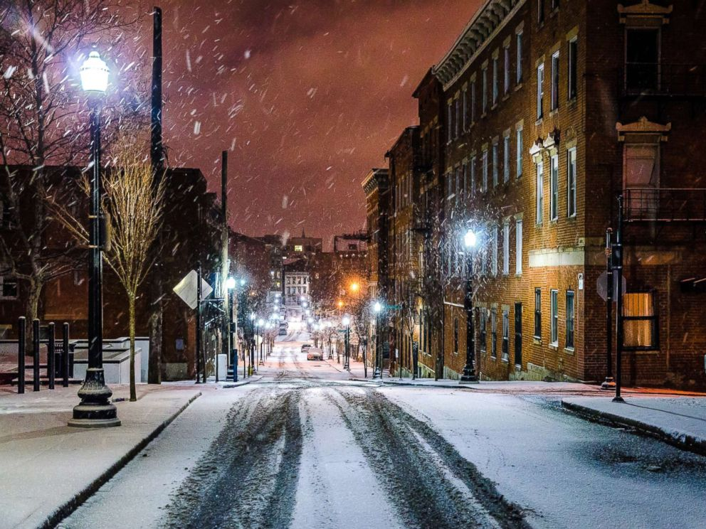 PHOTO: Snow falls in a historic district of Cincinnati in an undated stock photo.