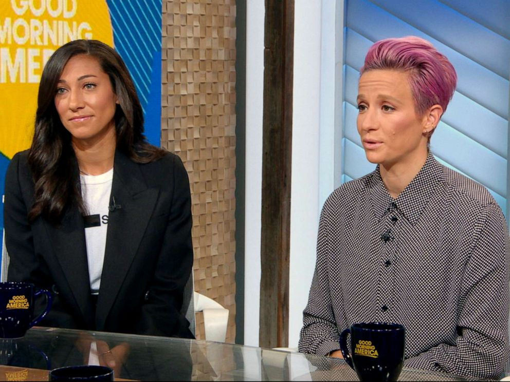 PHOTO: USWNT stars Megan Rapinoe and Christen Press speak out on Good Morning America about the end of mediation in their fight for equal pay.