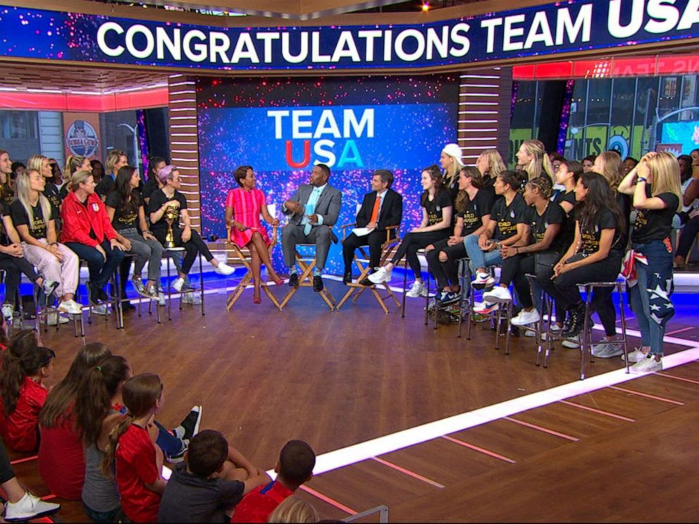 PHOTO: The U.S. Womens National Team appear on Good Morning America about their World Cup win, July 9, 2019.