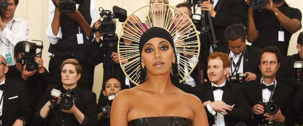PHOTO: Solange Knowles attends the Heavenly Bodies: Fashion & The Catholic Imagination Costume Institute Gala at The Metropolitan Museum of Art, May 7, 2018, in NYC.