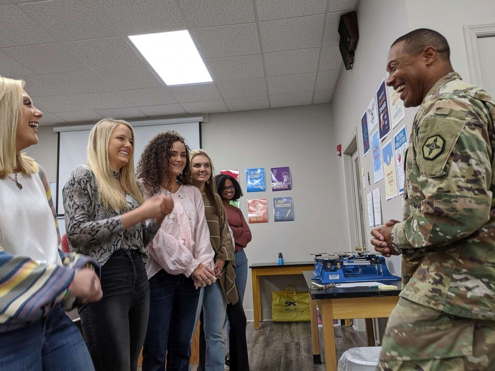 PHOTO: Gen. Vincent Buggs speaks to members of the senior class at David Emanuel Academy in Stillmore, Georgia.