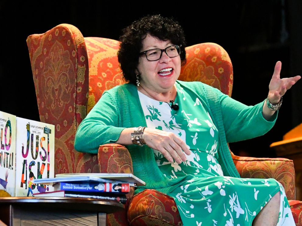 PHOTO: U.S. Supreme Court Justice Sonia Sotomayor addresses attendees of an event promoting her new childrens book Just Ask! in Decatur, Ga., Sept. 1, 2019.