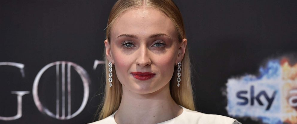 "PHOTO: Sophie Turner attends the ""Game of Thrones"" Season 8 screening at the Waterfront Hall, April 12, 2019, in Belfast, Northern Ireland."