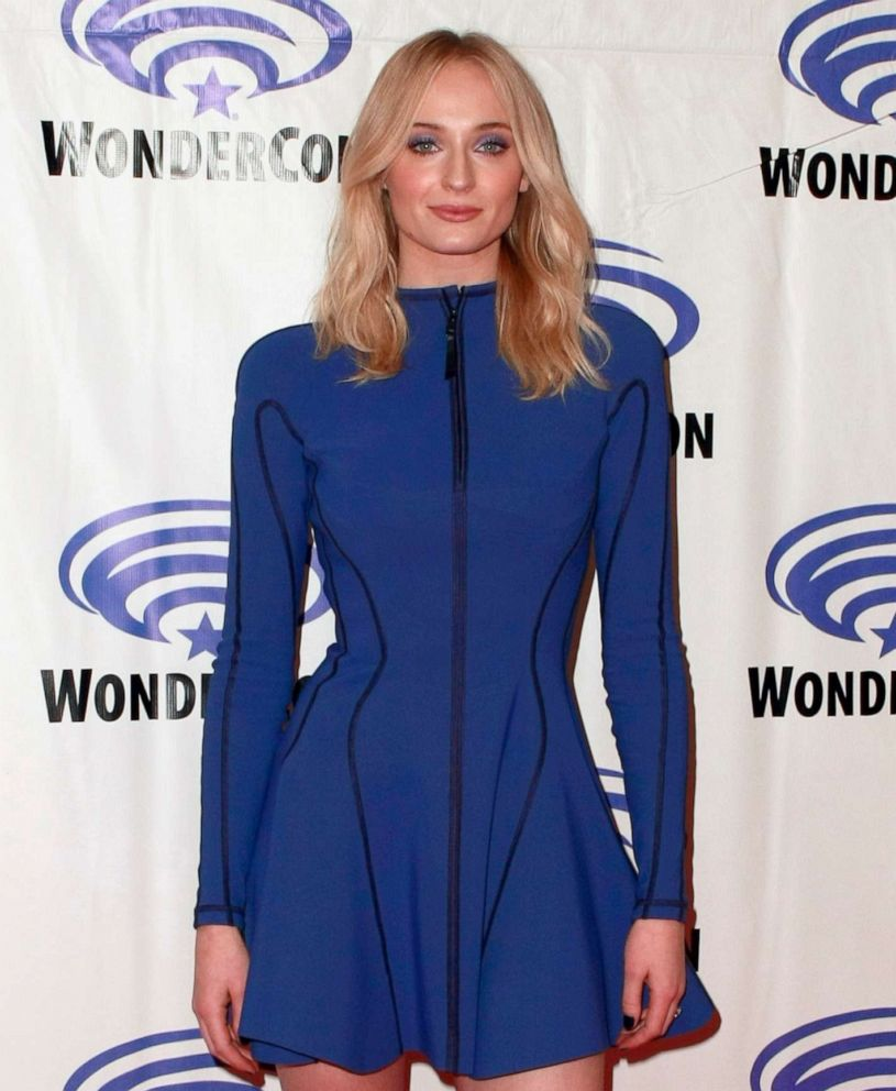 "Sophie Turner attends the ""Dark Phoenix"" press line during WonderCon 2019 at Anaheim Convention Center, March 29, 2019, in Anaheim, Calif."