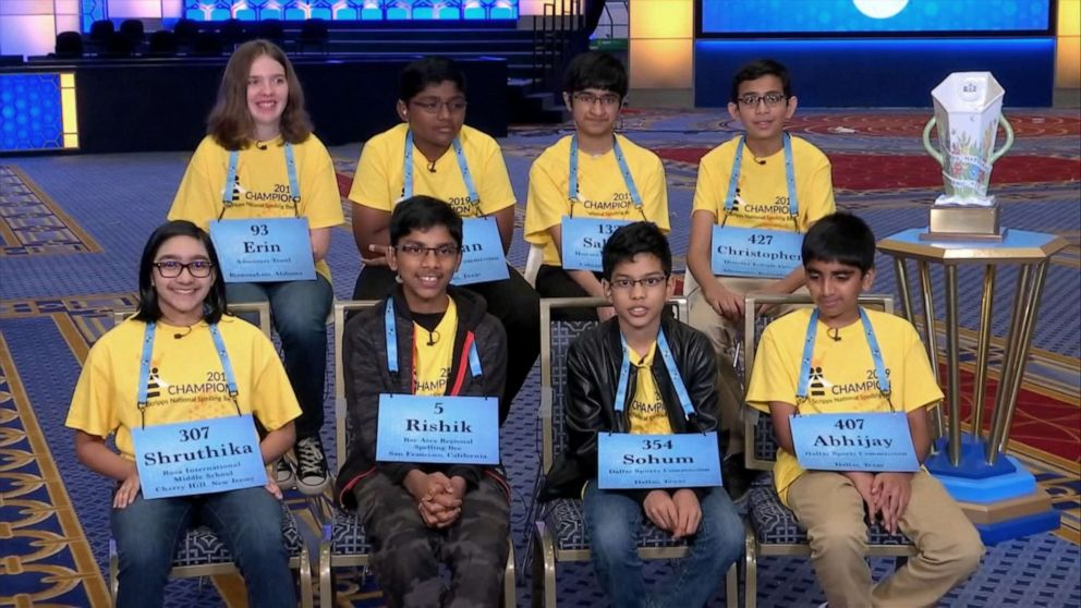 PHOTO: The eight winners of the 2019 Scripps National Spelling Bee speak out on ABCs Good Morning America, May 31, 2019, the morning after their historic win.