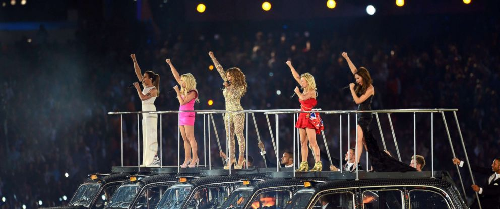 PHOTO: Melanie Chisholm, Emma Bunton, Melanie Brown, Geri Halliwell and Victoria Beckham of The Spice Girls perform during the Closing Ceremony of the London 2012 Olympic Games at Olympic Stadium in this Aug. 12, 2012 file photo in London.