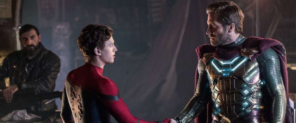 "PHOTO: Actors Tom Holland and Jake Gyllenhaal in a scene from the movie, ""Spider-Man: Far From Home."""