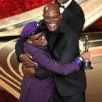 Spike Lee celebrates winning the Oscar for adapted screenplay award for 'BlacKkKlansman' with Samuel L. Jackson during the 91st Annual Academy Awards at Dolby Theatre, Feb. 24, 2019 in Hollywood, Calif.