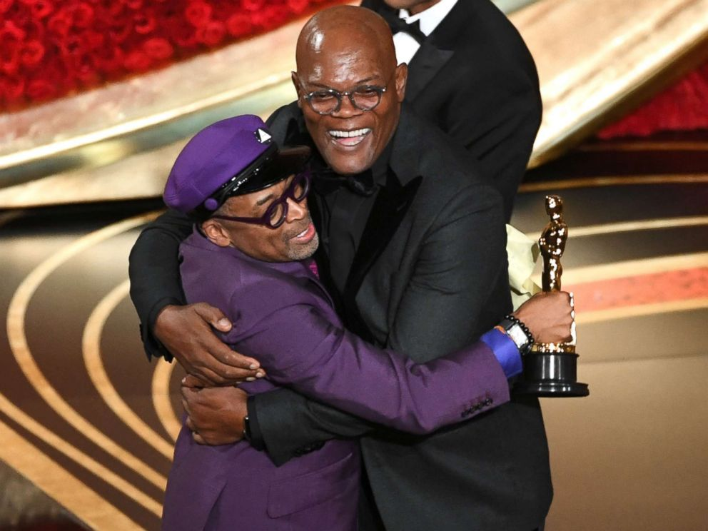 PHOTO: Spike Lee celebrates winning the Oscar for adapted screenplay award for BlacKkKlansman with Samuel L. Jackson during the 91st Annual Academy Awards at Dolby Theatre, Feb. 24, 2019 in Hollywood, Calif.