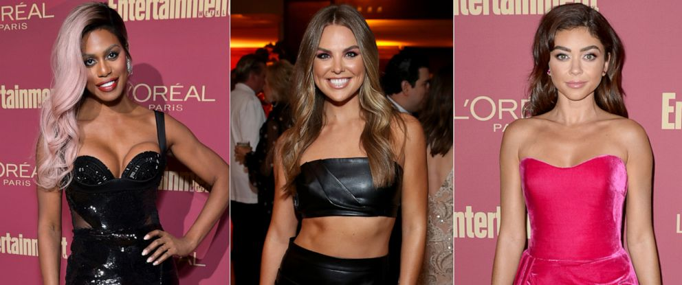PHOTO: Laverne Cox, Hannah Brown and Sarah Hyland are seen at the Pre-Emmy Party hosted by Entertainment Weekly and LOreal Paris at Sunset Tower Hotel in Los Angeles on Friday, September 20, 2019.