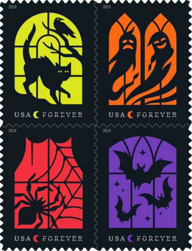 Spooky Silhouettes for Halloween are among the forthcoming 2019 stamp designs announced by the USPS on March 12, 2019.