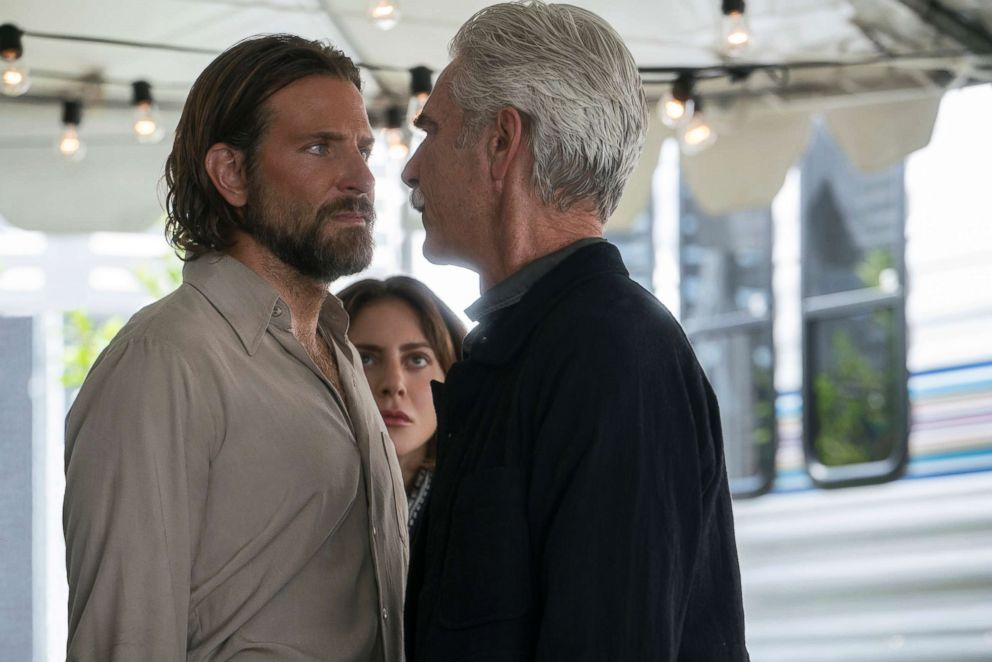 PHOTO: Bradley Cooper, from left, Lady Gaga and Sam Elliott in a scene from A Star is Born.