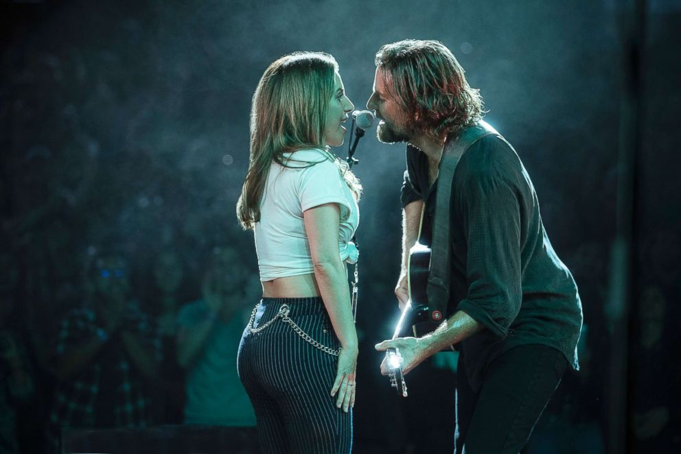 PHOTO: Bradley Cooper and Lady Gaga in a scene from the movie, A Star is Born.