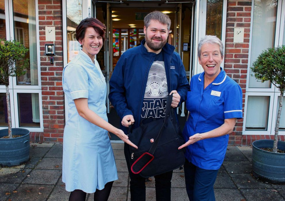 PHOTO: Rowans Hospice Health Care Support Worker, Lisa Davies, left, and Senior Staff Nurse, Jill Saunders, right welcome Disney Rep, Jonathan Bush with The Rise of Skywalker.