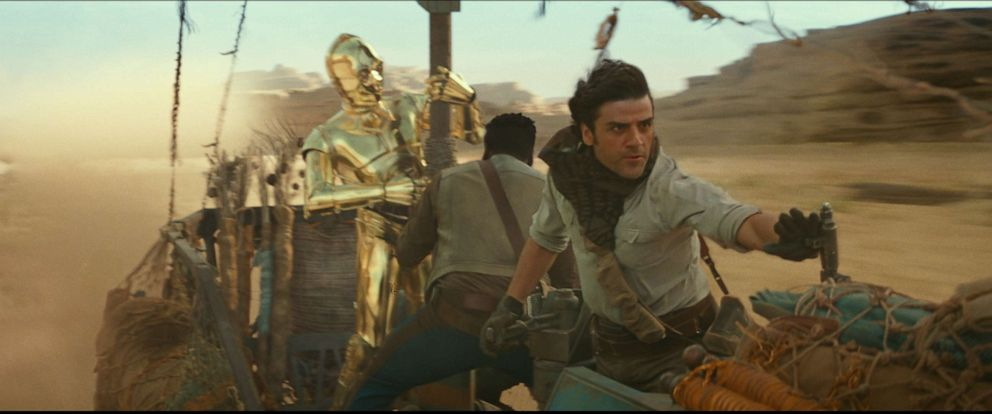 """PHOTO: C3PO, John Boyega and Oscar Isaac appear in a scene from the 2019 film, """"Star Wars: The Rise of Skywalker."""""""