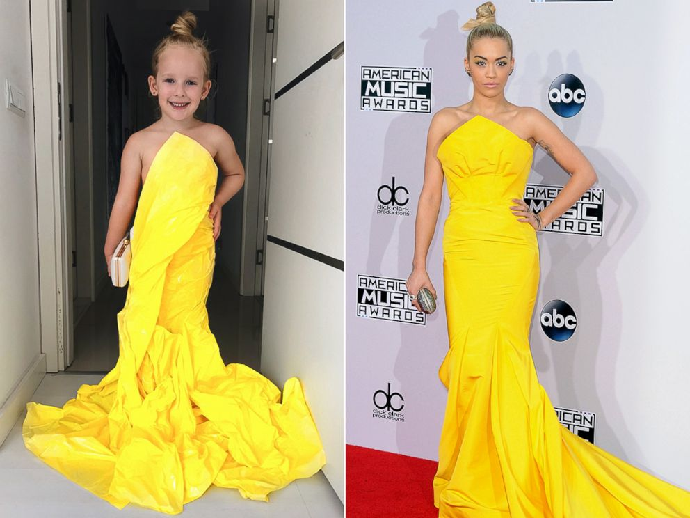 Her Mom Alya Chaglar Posts Photos Of In Outfits Made To Look Like The Ones Celebrities Wear On Red Carpet