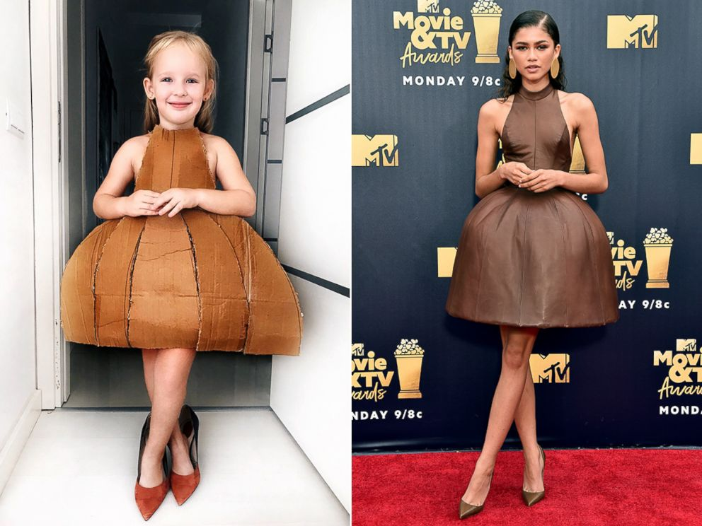 PHOTO: Stefani Chaglar wears this cardboard box dress similar to Zendayas red carpet look.