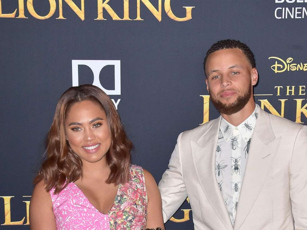 PHOTO: Steph Curry with wife Ayesha Curry and daughters Ryan and Riley at the world premiere of the movie The Lion King at the Dolby Theater in Los Angeles, July 9, 2019.