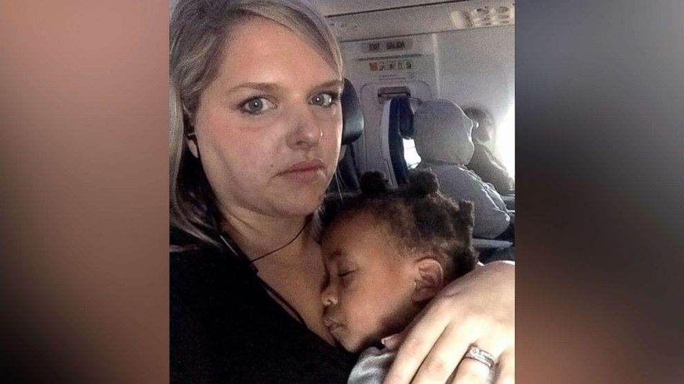 Blogger Stephanie Hollifield is pictured with her young daughter in a photo she shared on Feb. 3, 2019, with an open letter to a fellow airline passenger after a recent flight.