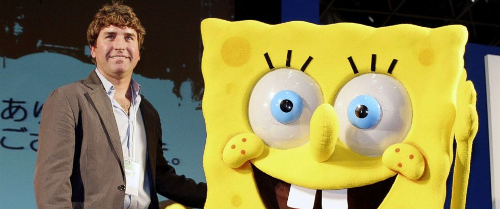 "PHOTO: Cartoonist Stephen Hillenburg, the creator of ""SpongeBob SquarePants"" poses with SpongeBob SquarePants at an event in Tokyo, March 23, 2006."