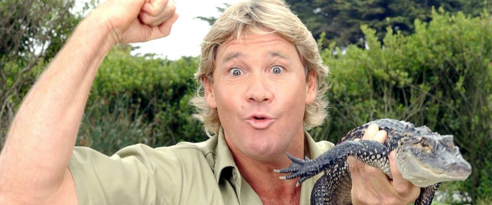PHOTO: Steve Irwin, poses with a three foot long alligator at the San Francisco Zoo on June 26, 2002 in San Francisco.