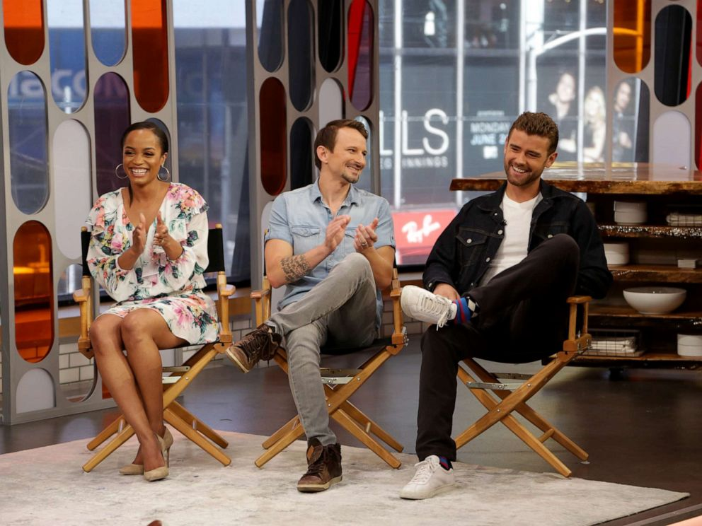 PHOTO: Bachelorette contestant Luke S., right, talks about his exit from the reality show alongside Rachel Lindsay and Evan Bass, center, June 12, 2019.