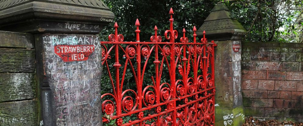 PHOTO: The gates of the former Salvation Army orphanage Strawberry Field, immortalized by the Beatles song Strawberry Fields Forever, where John Lennon used to play as a child, March 19, 2011 in Liverpool, England.