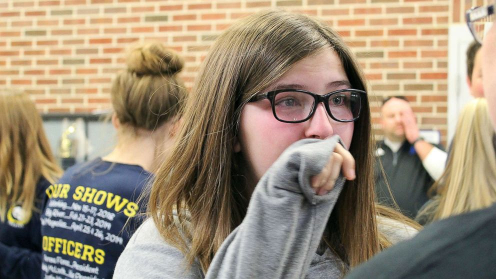 Emily Sadler, 15, was surprised by her classmates on Nov. 16 with news that she was cancer free.