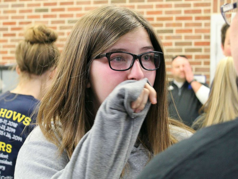 PHOTO: Emily Sadler, 15, was surprised by her classmates on Nov. 16 with news that she was cancer free.