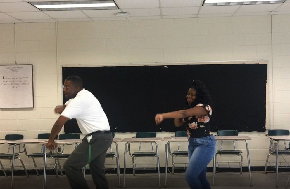 PHOTO: In this undated photo, middle school teacher Terrence Bradley danced with student MyAngel Johnson.