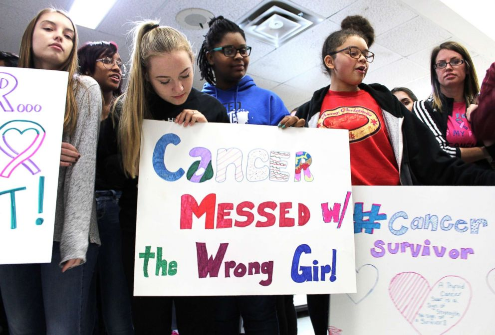 Emily Sadler received a surprise party from her classmates who shared news with her that she was cancer free.