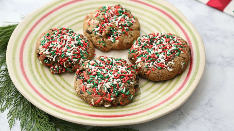 Stuffed Cookies Oreo Birthday Cake With Christmas Sprinkles Are Pictured