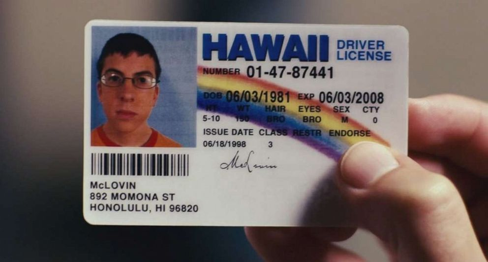 PHOTO: The fake McLovin id in Superbad, 2007.