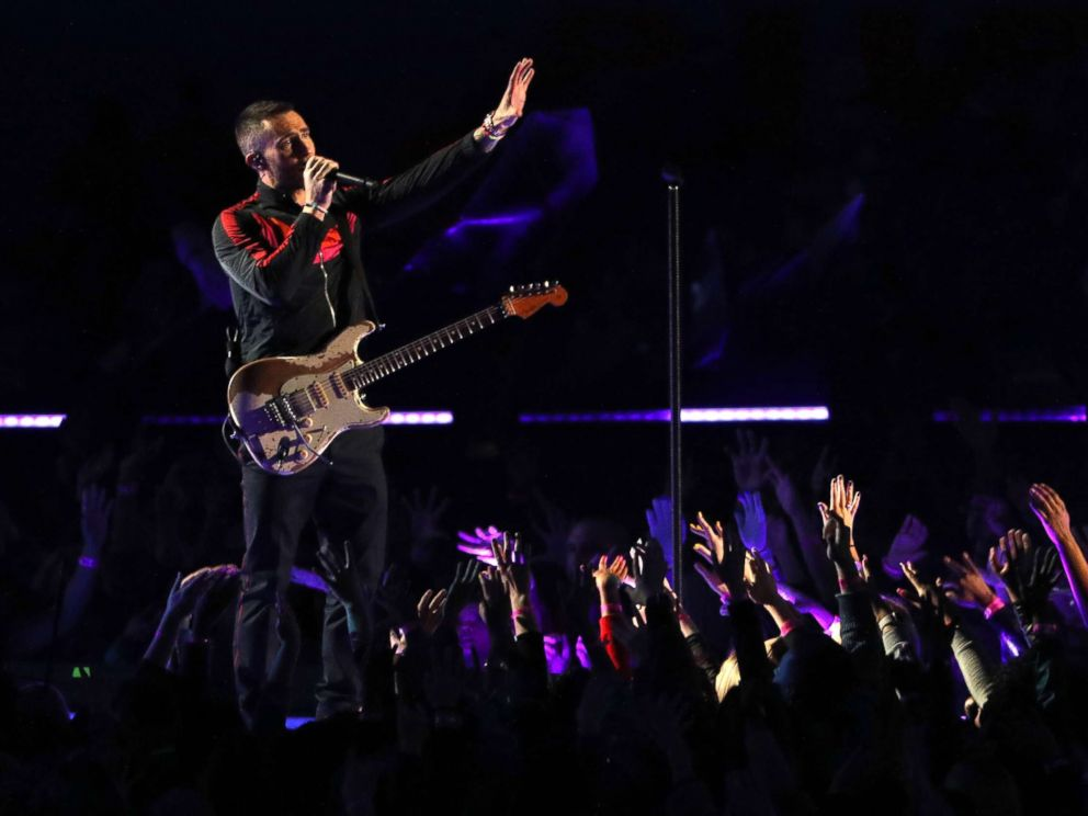 PHOTO: Adam Levine of Maroon 5 performs during the Pepsi Super Bowl LIII Halftime Show at Mercedes-Benz Stadium, Feb. 3, 2019, in Atlanta.