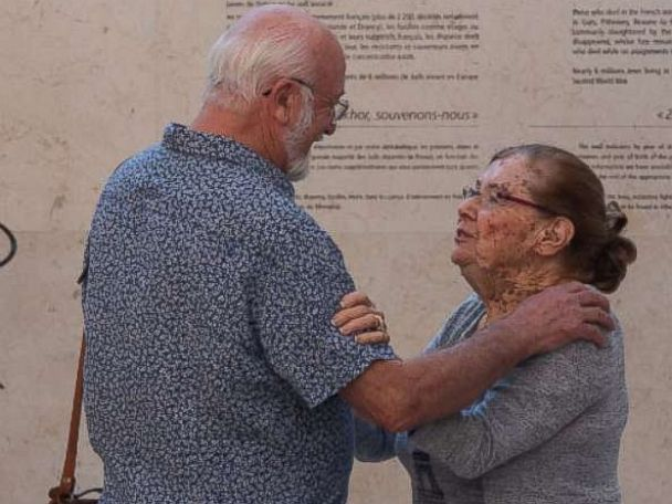 PHOTO: Alain and Charlotte reuniting at the Wall of Names in Paris after nearly 70 years.