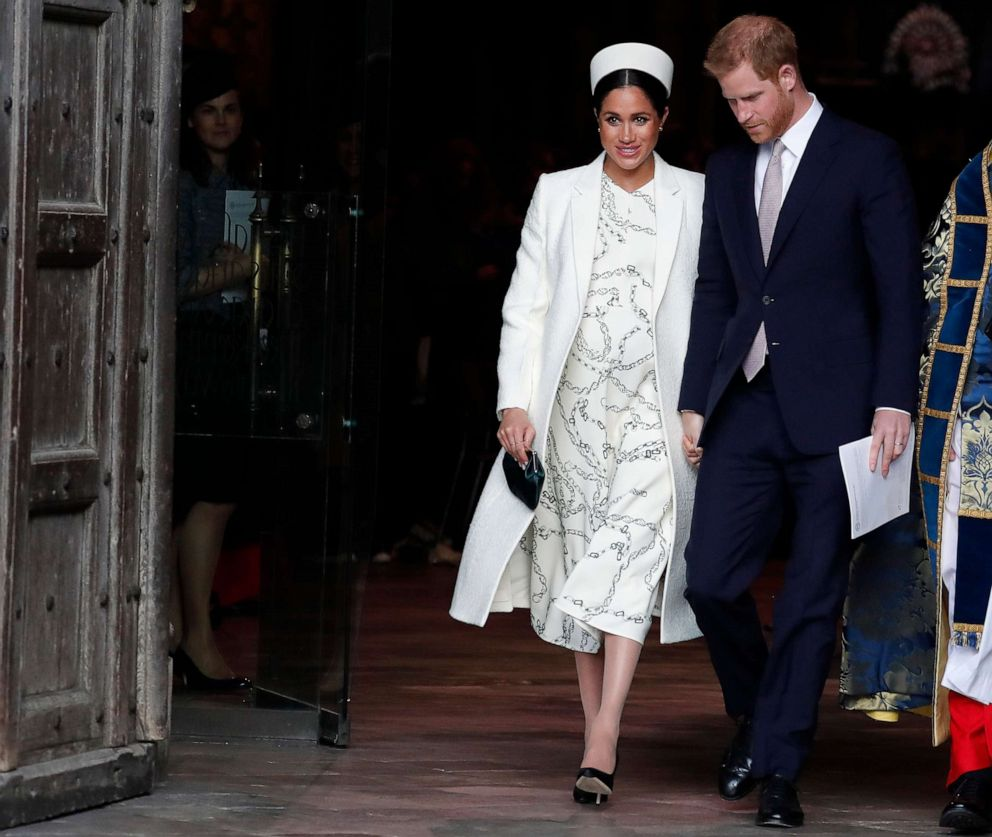 PHOTO: Meghan, the Duchess of Sussex and Prince Harry leave after attending the Commonwealth Service at Westminster Abbey on Commonwealth Day in London, March 11, 2019.