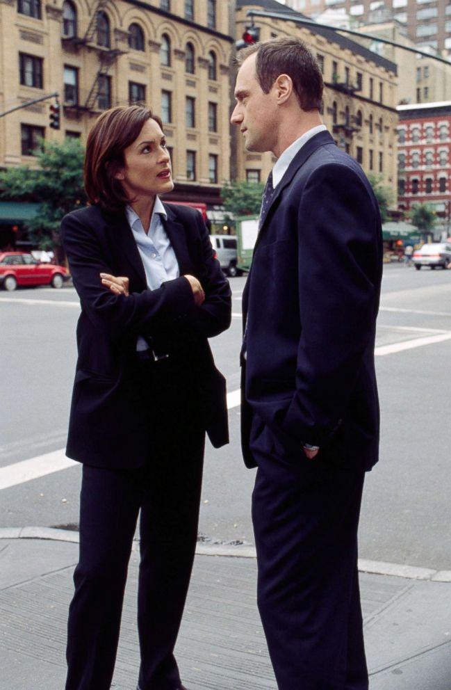 "Mariska Hargitay as Detective Olivia Benson, Christopher Meloni as Detective Elliot Stabler on ""Law & Order: Special Victims Unit,"" 1999."