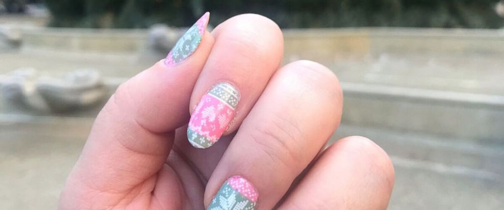 PHOTO: Bobbie Gossage of New York uses an ugly Christmas sweater nail stamping plate called