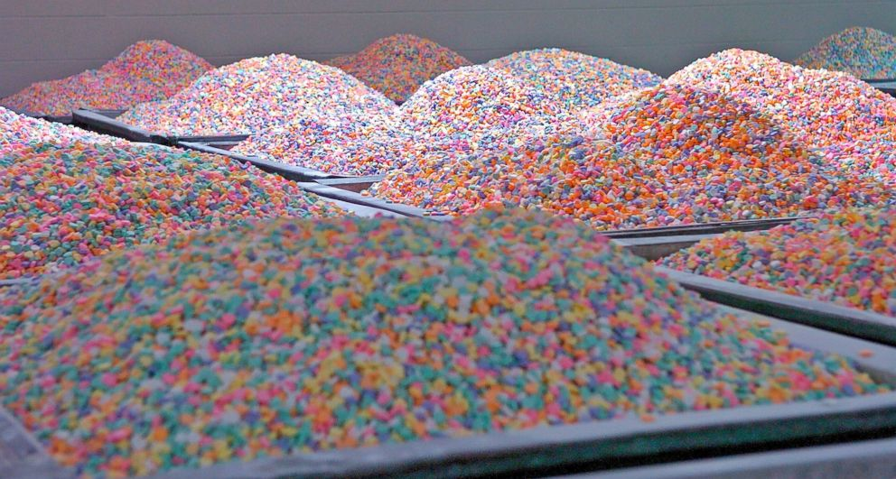 Hoppers Each Holding approximately 1500 Pounds of 'Sweetheart' candies cure in a room in a production plant in Revere, Mass., Feb. 7, 2006.