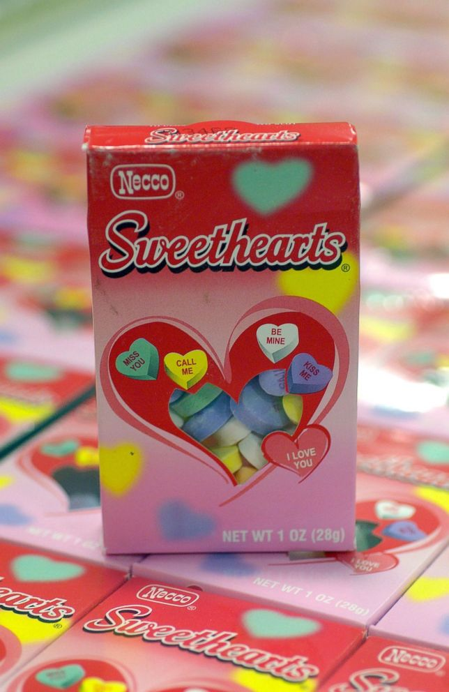 A box of 'Sweethearts' candy sits on display at the New England Confectionery Company headquarters in Revere, Mass., Feb. 7, 2006.