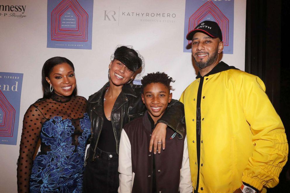 PHOTO: Mashonda, Alicia Keys, Kasseem Dean Jr., and Swizz Beatz attend the Blend book launch party, Oct. 1, 2018, in New York City.