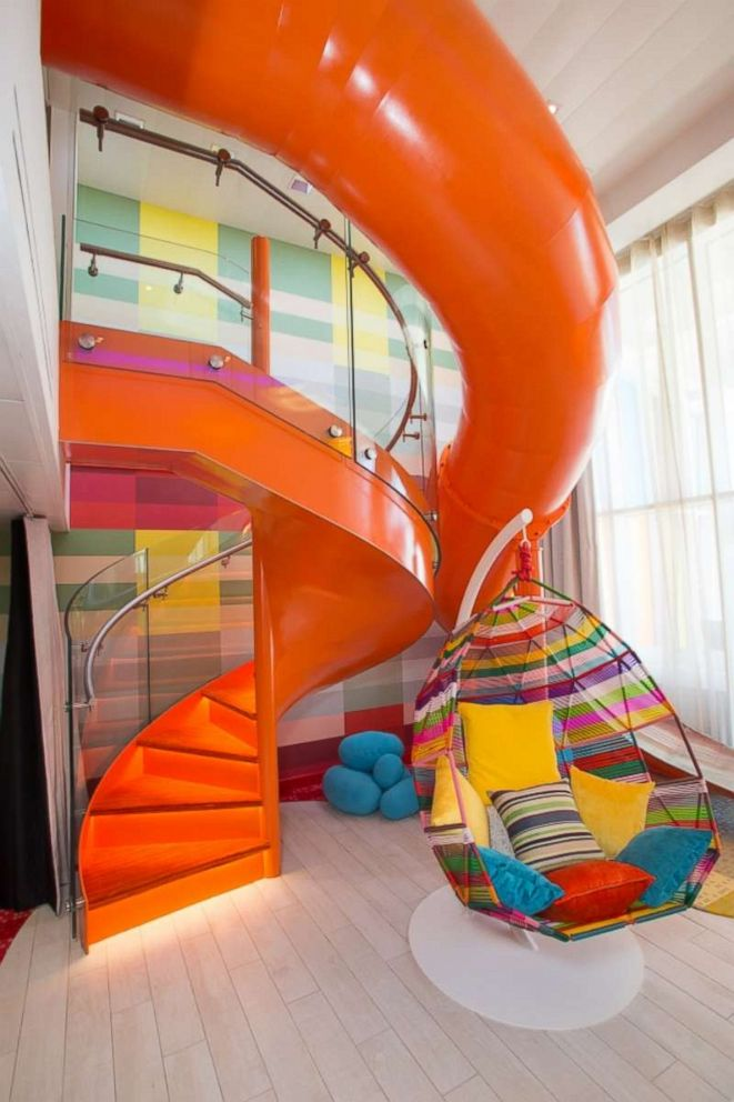 PHOTO: Kids can slide into the perfect adventure on the multistory in-suite slide in the Symphony of the Seas Ultimate Family Suite.