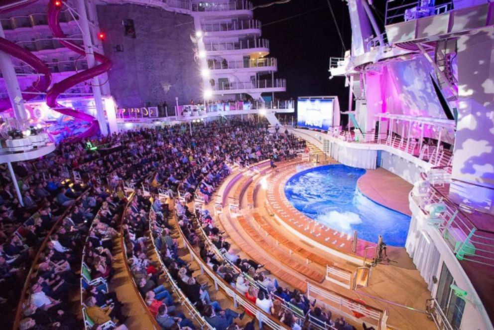 PHOTO: Colorful acrobatic performances take place at the AquaTheater on the Symphony of the Seas.
