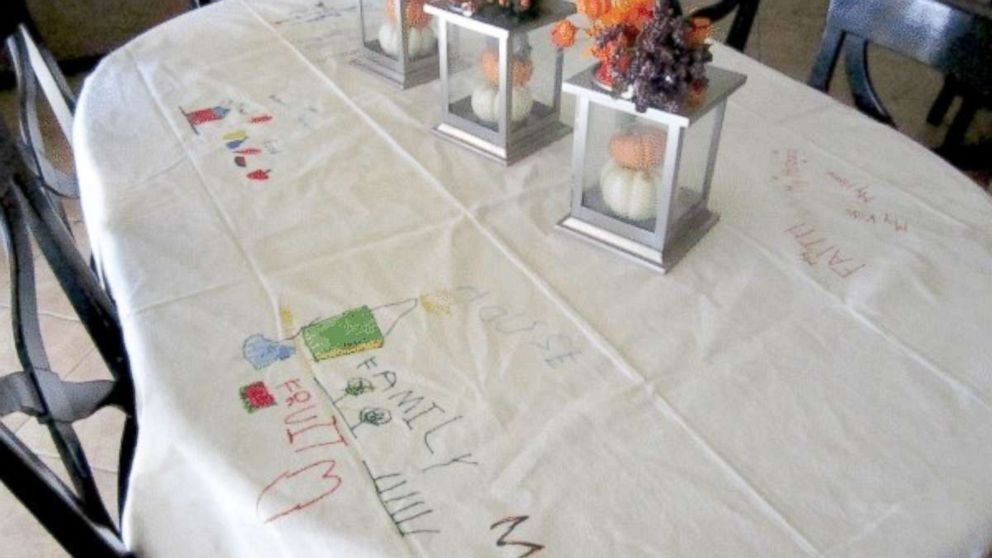 This Thanksgiving tablecloth will serve as a keepsake for years to come.