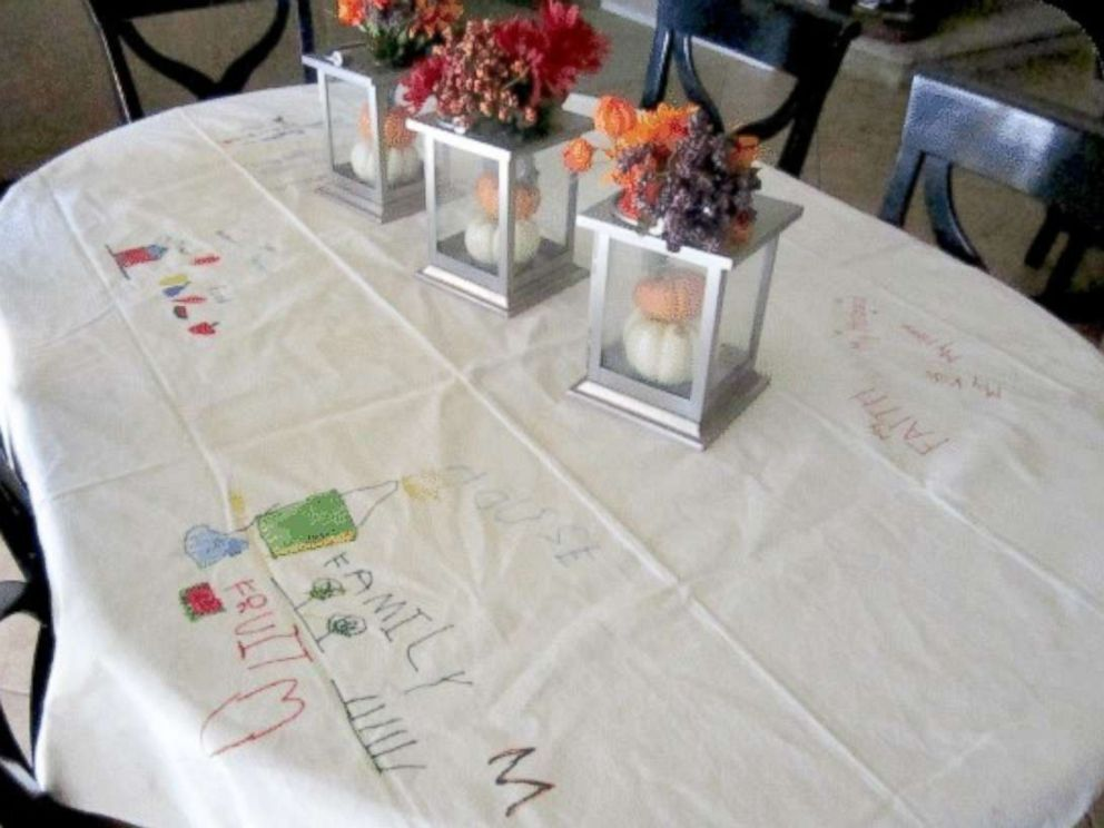 PHOTO: This Thanksgiving tablecloth will serve as a keepsake for years to come.