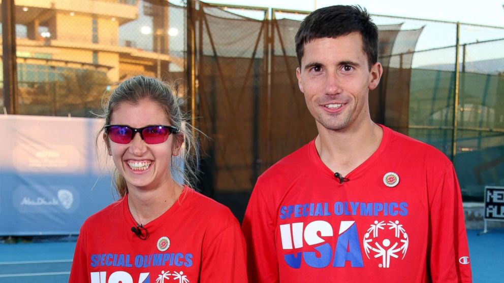 Brittany Taglireni and her fiance Ryan Smith open up about being tennis partners at the Special Olympics in an interview with ABC News' Robin Roberts.