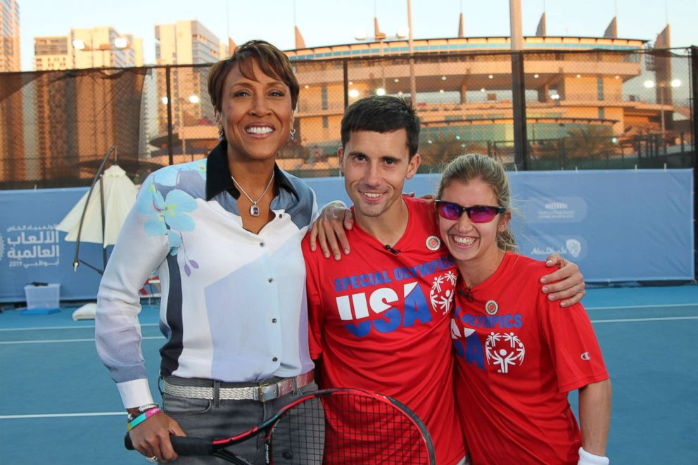 PHOTO: Brittany Taglireni and her fiance Ryan Smith open up about being tennis partners at the Special Olympics in an interview with ABC News Robin Roberts.